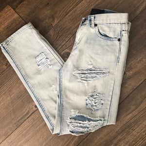 Light Wash One Teaspoon Ripped Jeans